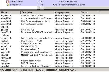 Tela Principal - Process Explorer DDL's
