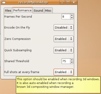 gtk-recordMyDesktop Opções Avançadas